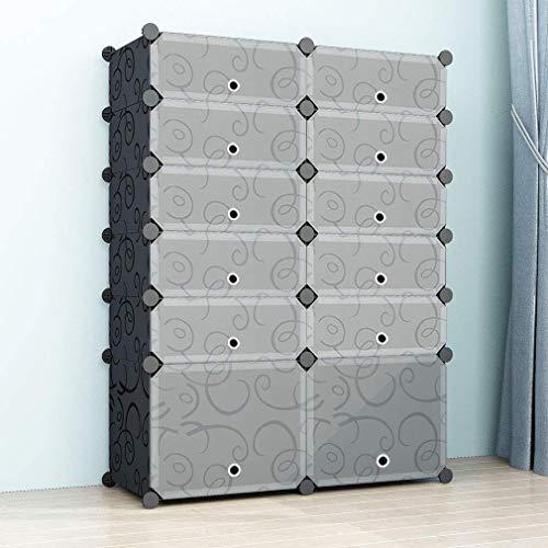 SIMPDIY Schuhregal Kunststoff, Schuhschrank groß, DIY Regalsystem mit Türen, Schuhablage Regale für Schuhe, Einfache Installation, Kommt mit einem Hammer - Schwarz (2x6 Würfel, 93x37x126cm)