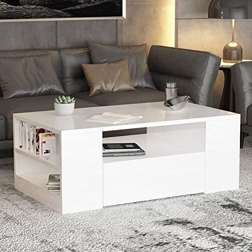 Mesa de centro con estantes, color negro, mesa de salón, mesa de salón, oficina, 95 x 55 x 37 cm (blanco)