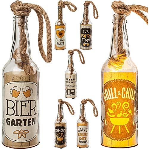 alles-meine.de GmbH 6 Stück _ Glas - Lichterflaschen - je 6 Stück LED _ Grill - Bier & Camping _ LICHT Dekoflaschen / Flaschen / Bierflaschen - 25 cm - Batterie betrieben - warmw..