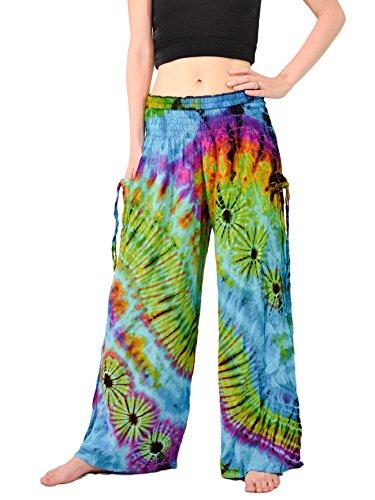 Orient Trail Womens Bohemian Yoga Wide Leg Palazzo Tie Dye Pants ML Tie Dye Andaman Blue