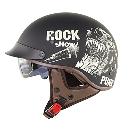 Cascos retro Motocicleta ECE/DOT Aprobado Medio casco con parasol para hombres y mujeres, DOT Media gorra para bicicleta Cruiser Chopper Moped Scooter ATV 3,L