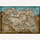 meilishop Imprimir Skyrim Role Map Poster Classic Game Poster Papel Fotográfico Imagen De Pared para Sala De Estar Bar Cafe Decor Poster A131 (40X50Cm) Sin Marco