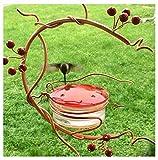Red Berries Hummingbird Feeder for Outdoors, Copper Hanging Hummingbird Feeder with Vine Perch & Red Berries, Squirrel Proof Decorative Metal Bird Feeder for Yard Garden Balcony Backyard - 3.4oz