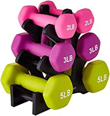 Set of six cast iron dumbbells in three weight categories with storage stand - 3 Pairs: 20 Pounds Total (2-Lb, 3-Lb, 5-Lb) Neoprene-coated for durability, safety, and a non-slip grip Printed weight number on each end cap and color-coded for quick ide...