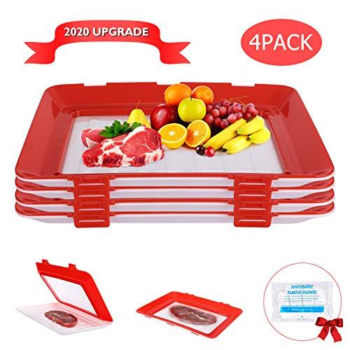 WJKTCMT Essen Tablett Food Preservation Tray,Frischetablett BehäLter Zur Aufbewahrung Von Lebensmitteln FüR Die Erhaltung Der Frische Von Lebensmitteln (4 StüCk)+ 50 Einweg-Plastikhandschuhe