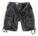 Surplus Hombres Airborne Vintage Pantalones Cortos Lavado Negro tamaño 5XL