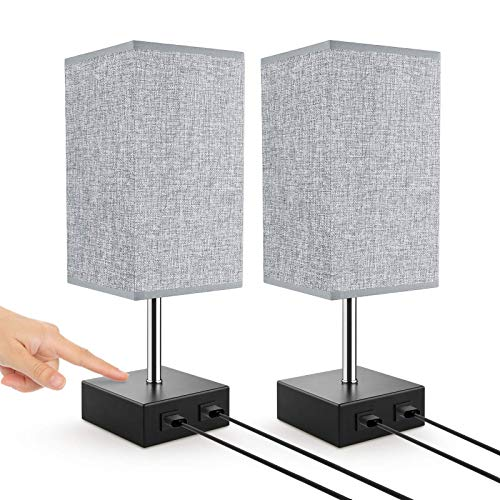 Lovebay Touch Tischlampe dimmbar, Moderne nachttischlampe mit 2 USB-Anschlüssen, Augenschutz Energiesparend nachttischlampe für Schlafzimmer, Wohnzimmer, Kaffeetisch, Babyzimmer (Mit Glühbirne)