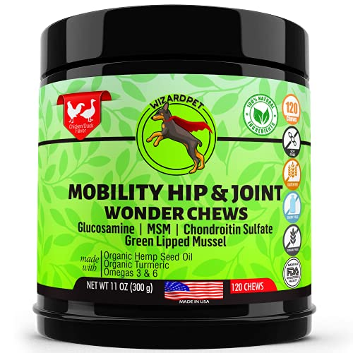 WIZARDPET Advanced Hip & Joint Supplement for Dogs | Glucosamine Chondroitin for Dogs | Omegas | Turmeric MSM Green Lipped Mussel  Dog treats support mobility | 120 Chews