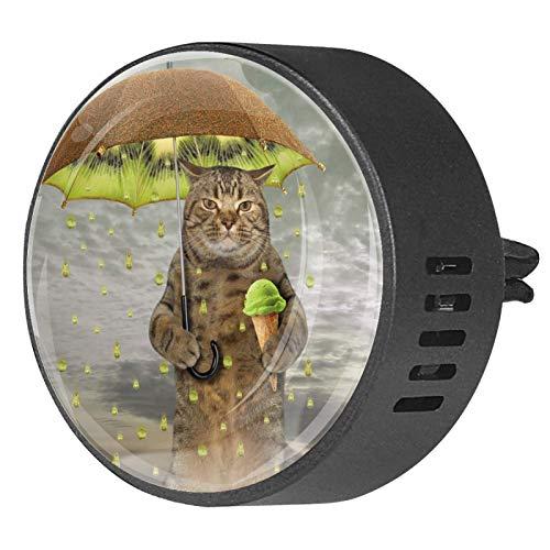 2 uds difusor de aromaterapia difusor de aceite esencial para coche Clip de ventilación gato con paraguas kiwi