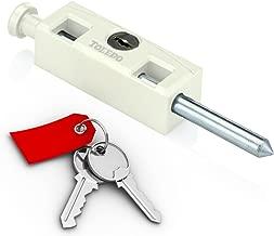 Sliding Patio Door Lock : Security Hardened Keyed Bolt : Uses Yale Lock Keyway : White : Available Keyed Alike : by TOLEDO