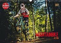 Mountainbike Action (Wandkalender 2022 DIN A3 quer): Action quer durch den Wald (Geburtstagskalender, 14 Seiten )