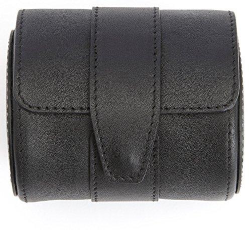 ROYCE Executive Reise-Armbanduhrrolle aus glattem Echtleder mit Wildlederinnenseite, passend für 1 Armbanduhr, Schwarz