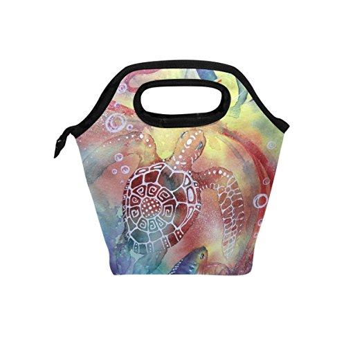 hunihuni Unterwasserwelt Isolierte Thermo Lunch Kühltasche Tote Bento Box Handtasche Lunchbox mit Reißverschluss für Schule Büro Picknick