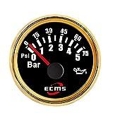 Sensor Vehículo automotriz Camión 2 Pulgadas 52 mm Medidor de presión de Aceite Medidor Indicador 0-5bar 0-75Psi 12V 24V con luz de Fondo