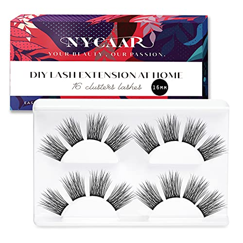 NYCAAR DIY Eyelash Extension at Home, Glue Bonded Band Individual Cluster Lashes For Starter,Soft and Lightweight Eyelashes Natural Look, 16 Clusters Eyelashes (3D Volume Lash, 16mm)