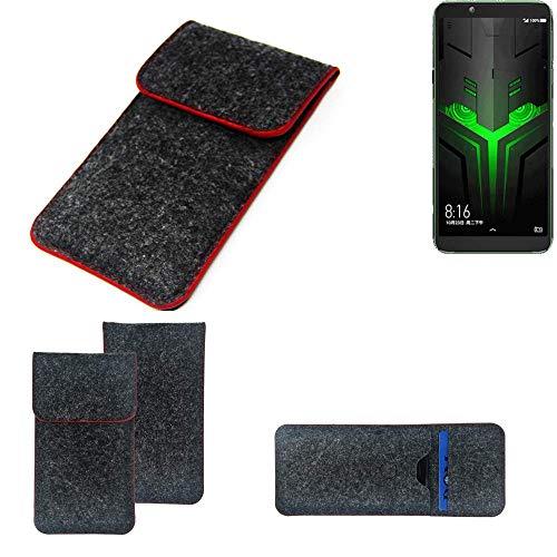 K-S-Trade Handy Schutz Hülle Für Xiaomi Blackshark Helo Schutzhülle Handyhülle Filztasche Pouch Tasche Hülle Sleeve Filzhülle Dunkelgrau Roter Rand