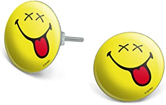 GRAPHICS & MORE Smiley Happy Dead Drunk Sleeping Dreaming Yellow Face Novelty Silver Plated Stud Earrings