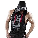 Homme Débardeur Capuche DOTBUY T-shirt sans Manches Stretch Shirt Tank Top Muscle Bodybuilding Blouse Maillot de Corps Sport Fitness Jogging (L, noir)