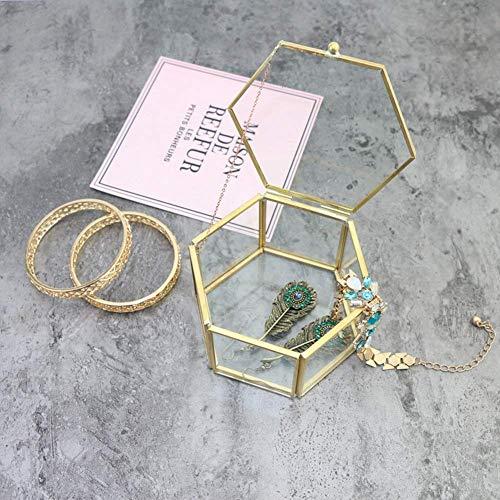 DZX Joyero de Cristal Dorado Hexagonal, pequeños Pendientes Transparentes, Collar, Anillos, Caja...