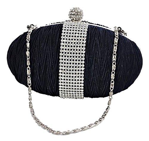 Eye Catch - Elegantes Damen Clutch Brauttäschchen Abendtasche Handtasche navy