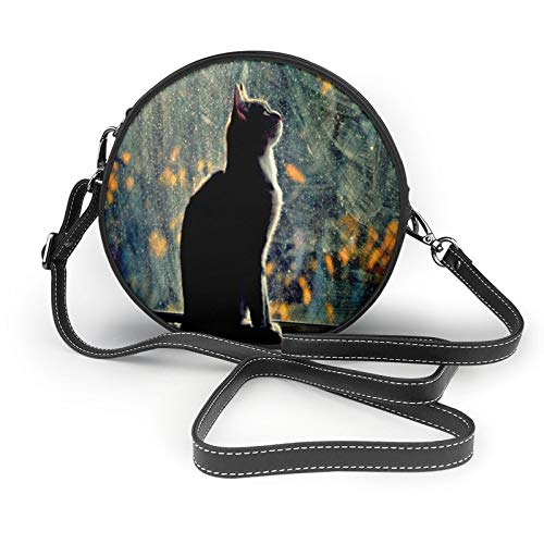 Cat Watching The Sunset Womens Fashion Round Crossbody Shoulder Bag Handbag Small Wallet School Work Bag