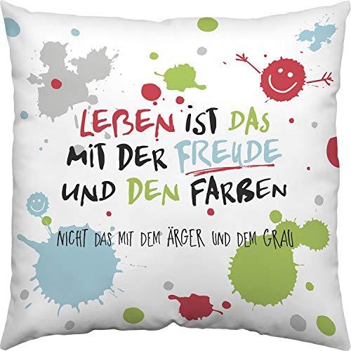 H:)PPY life 45359 Baumwoll-Kissen mit Spruch Leben ist das mit der Freude, 40 cm x 40 cm, bunt