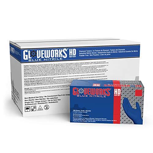 AMMEX GWRB48104E0 Guantes desechables de nitrilo, azul real, extra grandes, 6 mil, para servicio pesado GLOVEWORKS HD Grado industrial, sin polvo, sin látex, Caja de 1000
