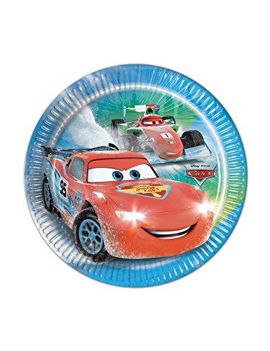 Procos 84835 – Assiettes Papier Cars Ice Racer, Ø20 cm, 8 pièces, Bleu/Rouge