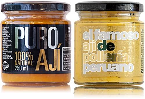 Puro ají amarillo —peperoncino giallo peruviano— e ají amarillo con huacatay —salsa piccante per pollo arrosto—   Pacchetto risparmio   100% naturale   Senza additivi, conservanti e glutine   Vegani
