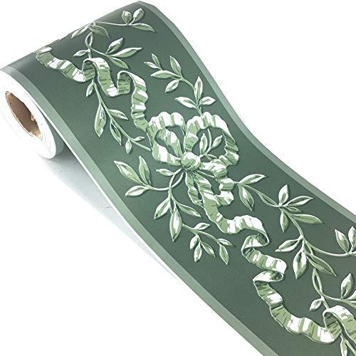 Selbstklebender Rattan-Bordüre, selbstklebend, 10 x 10 m, Grün