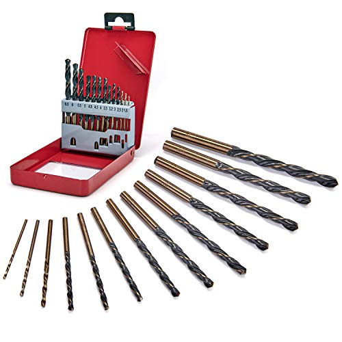 Twist Drill Bit Set Step Drill Bits - High Speed Steel Drill Bit Set Double Groove Thread Chip Removal Design 1/16-1/4' 13Pcs for Aluminum Alloy Wood Plastic Fast Drill Bit