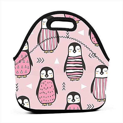Lunch Tote Leuke Roze Pinguïn Inpakpapier Lunch Tote Lunch Tas Gourmet Tote Camping Beach Office Unisex School Gourmet Tas Werk Reizen Outdoor Party Qqb