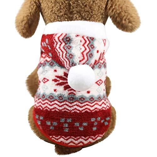 Longra Felpa per Cani con Cappuccio Maglione Natalizio in Pile Giacca Cappotto Calda Invernale Abbigliamento Cani Regalo Natalizio Vestiti per Cani Giacca Imbottita per Cani di Taglia Piccola