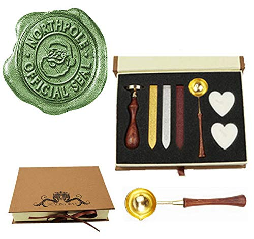 MNYR Retro Santa Claus Northpole Official Wax Seal Stamp Embellishment Wedding Invitation Card Mail Gift Wrap Wine Package Wood Handle Melting Spoon Sealing Wax Stick Box Christmas Wax Seal Stamp Set
