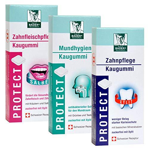 Baders Protect Selection kauwgom. 3 soorten mondhygiëne, tandverzorging en verzorging van het tandvlees. 3 x 20 kauwgom vierkanten in blisterverpakking.