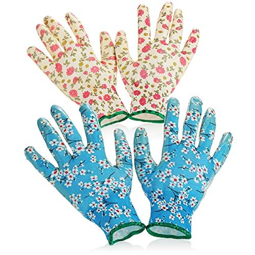 com-four® 2er Set Gartenhandschuhe für Damen, Blumenmotiv, aus Latex, Antirutschbeschichtung, Einheitsgröße S (02 Paar - blau/weiß - Größe S)