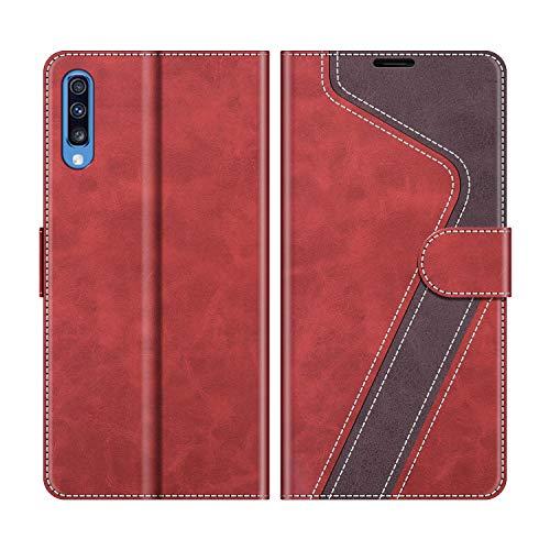 MOBESV Handyhülle für Samsung Galaxy A70 Hülle Leder, Samsung Galaxy A70 Klapphülle Handytasche Case für Samsung Galaxy A70 Handy Hüllen, Modisch Rot