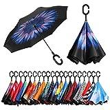 Eono by Amazon - Paraguas Invertido de Doble Capa, Paraguas Plegable de Manos Libres Autoportante,Paraguas a Prueba de Viento Anti-UV para la Lluvia del Coche al Aire Iibre, Flor Azul