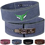 Mytra Fusion 4 inch Leather Powerlifting Weightlifting Belt Lever Buckle (Grey, Large)
