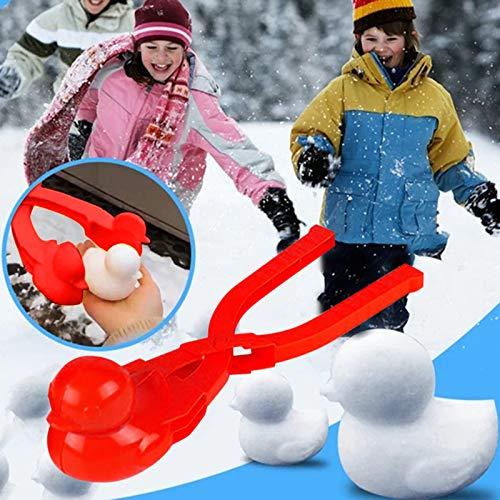 Snowball Maker Toys Cartoon Duck Snowball Maker Clip Outdoor Sports Snow Sand Mold for Kids, Children Snow Ball Fights, Winter Outdoor Activities (Red)