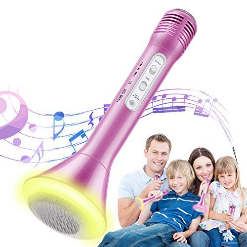 Magicfun Micrófono Karaoke, 3 en1 Bluetooth Microfono Inalámbrico Karaoke Portátil con Luces LED, Reproductor KTV doméstico Compatible con Android/iOS/PC, Regalo para Niños Canta Partido Musica