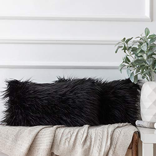 Ashler Pack of 2 Decorative Style Black Faux Fur Throw Pillow Case Cushion Cover 12 x 20 Inch 30 x 50 cm