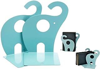 Itian söt elefant bokstöd halkfri konst bokstöd gåva blå 1 par