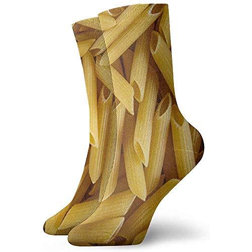 Uridy Nahaufnahme von ungekochten Makkaroni-Nudeln Unisex-Socken Bedruckte weiche Socken Ganzjahres-Crew-Socken Kurze Socken