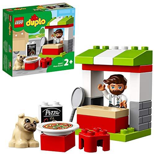 LEGO 10927 DUPLO Pizza-Stand Spielset mit Pizza und Einer Hundefigur, große Bausteine für Kleinkinder ab 2 Jahren