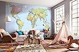 Komar XXL4-038 368 x 248 cm. Mapa mundi, mural de papel, multicolor (Pack de 4)