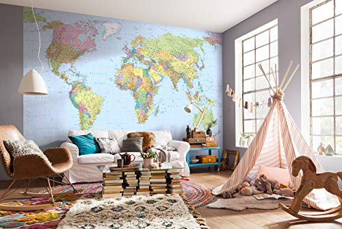 Komar Vlies Fototapete WORLD MAP   368 x 248 cm   Tapete, Wand, Dekoration, Wandbelag, Wandbild, Wanddeko, Weltkarte, Landkarte, Planet   XXL4-038