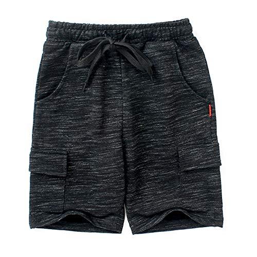 kids4ever Shorts Jungen 11-12 Jahre Leicht Sommershorts Schwarz mit verstellbaren Bundtaschen für Sport, Loung, Fußball und Training Sweathose Trousers