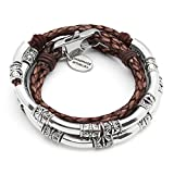 Lizzy James Mini Maxi Silver Plated Braided Leather Wrap Bracelet in Natural Mocha Leather (Medium)