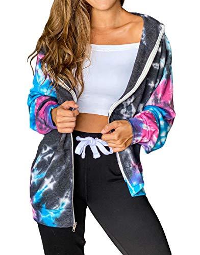 INFITTY Women Long Sleeve Zip Up Hoodie Jacket Hooded Sweatshirt Loose Fitting Tops Gray X-Large